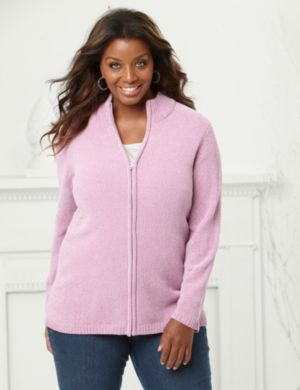 Zip-Front Chenille Sweater
