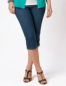Slimmer Denim Capri by CATHERINES