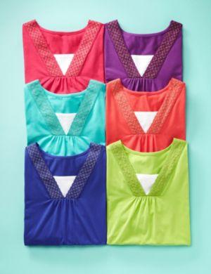 Glitter Crochet V-Neck