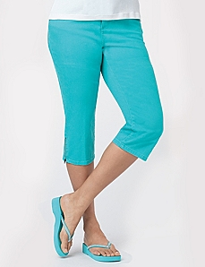 Slimmer Color Denim Capri by CATHERINES