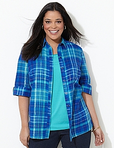 Sparkle Plaid Shirt by CATHERINES