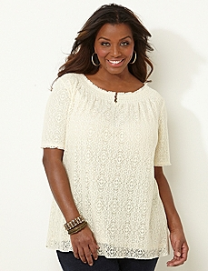 Lace Henley Peasant by CATHERINES