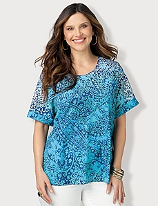 Ombre Paisley Top by CATHERINES