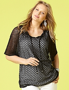 Sheer Dot Peasant by CATHERINES