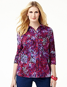 Paisley Button-Front Shirt