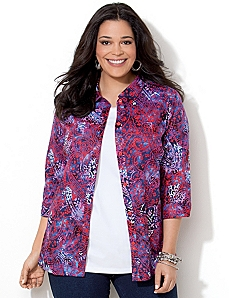 Paisley Buttonfront Shirt by CATHERINES