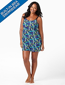 Fern Swimdress With Built-In Bra by CATHERINES