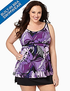 Floral Tank With Built-In Bra by CATHERINES