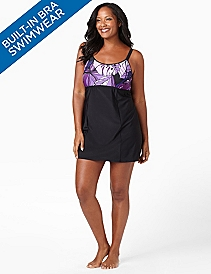Floral Swimdress With Built-In Bra