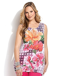 Caribbean Flower Tank by CATHERINES
