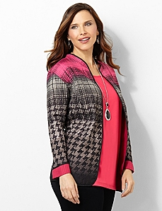 Houndstooth Reversible Jacket by CATHERINES