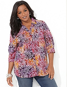 Floral Allure Shirt by Catherines