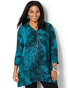 Sequin Duet Tunic by CATHERINES