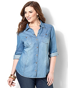 Cozy Denim Shirt by CATHERINES