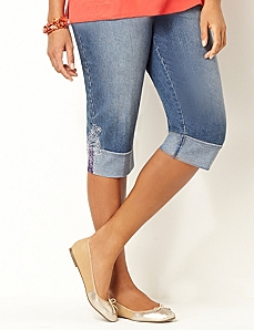 Roll-Cuff Denim Capri