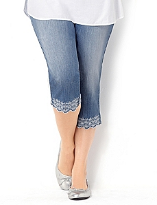 Embroidered Hem Denim Capri