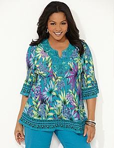 Tropical Pleated Blouse by CATHERINES