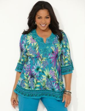 Tropical Pleated Blouse
