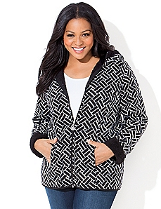 Geo Print Riverside Fleece Coat