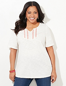 Pintucked Tribal Tee