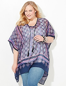 Bandana Stripe Poncho