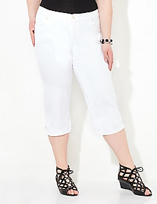 Buttonfront Sateen Capri
