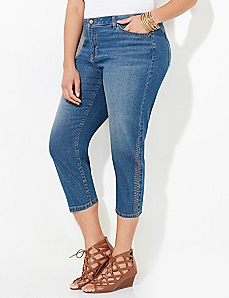 Embellished Denim Capri