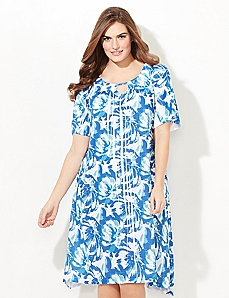 Watercolor Floral Print Sleep Gown