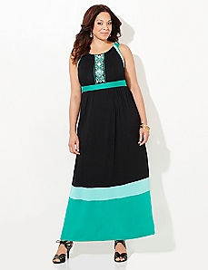 Tribal Colorblock Maxi Dress
