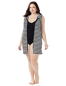 Stripe Hoodie Cover-Up