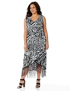 Aztec Fringe Maxi Dress