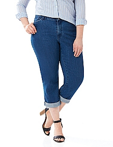 Embellished Cuff Denim Capri