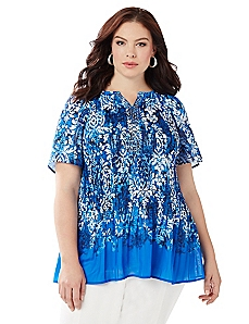 Paisley Border Pleated Top