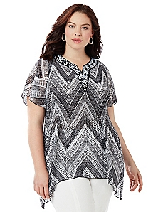 Chevron Pleated Blouse