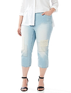 Bleached Patchwork Denim Capri