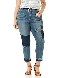Patchwork Slim Leg Jean