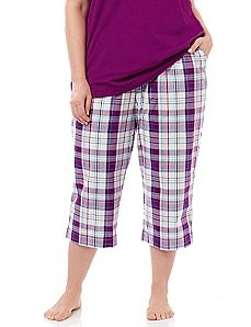 Let's Do Brunch Plaid Sleep Capri