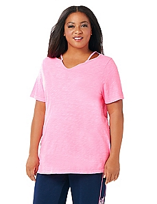 Cutout Short-Sleeve Active Tee