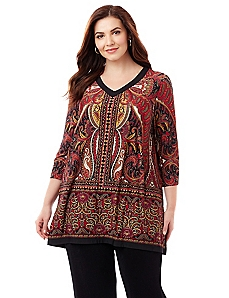 Sleek Stretch Tapestry Tunic