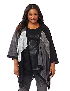 Black Label Patchwork Poncho