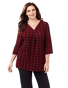 Houndstooth Textured Top