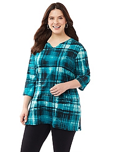 Boho Plaid Easy Fit Tee