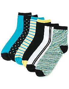Space Dye 6-Pack Quarter Socks