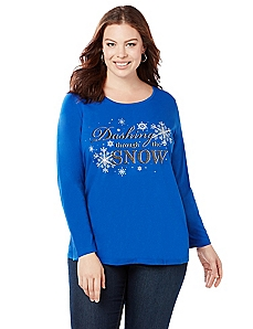 Snowy Holiday Long Sleeve Graphic Tee