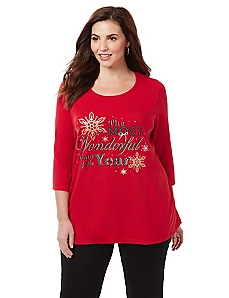 Wonderful Holiday 3/4 Sleeve Graphic Tee