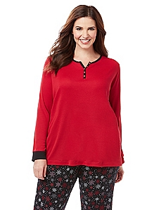 Holiday Wishlist Long Sleeve Henley Sleep Tee