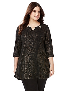 Sleek Stretch Paisley Tunic