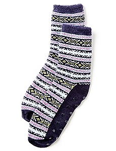 Fair Isle Double-Layer Slipper Socks