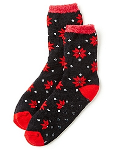 Pointsettia Double-Layer Slipper Socks