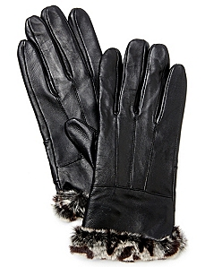 Leather Faux Fur Gloves